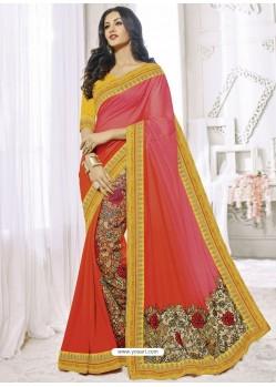 Tomato Red Satin Silk Designer Party Wear Saree