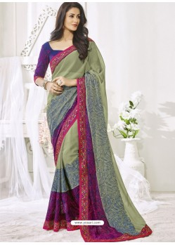 Olive Green And Multi Colour Chiffon Designer Party Wear Saree
