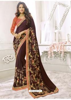 Coffee Brown Satin Silk Designer Party Wear Saree