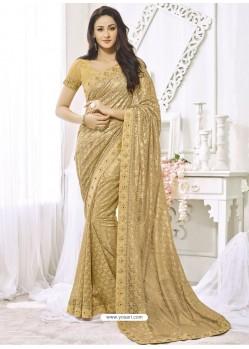 Golden Net Designer Party Wear Saree