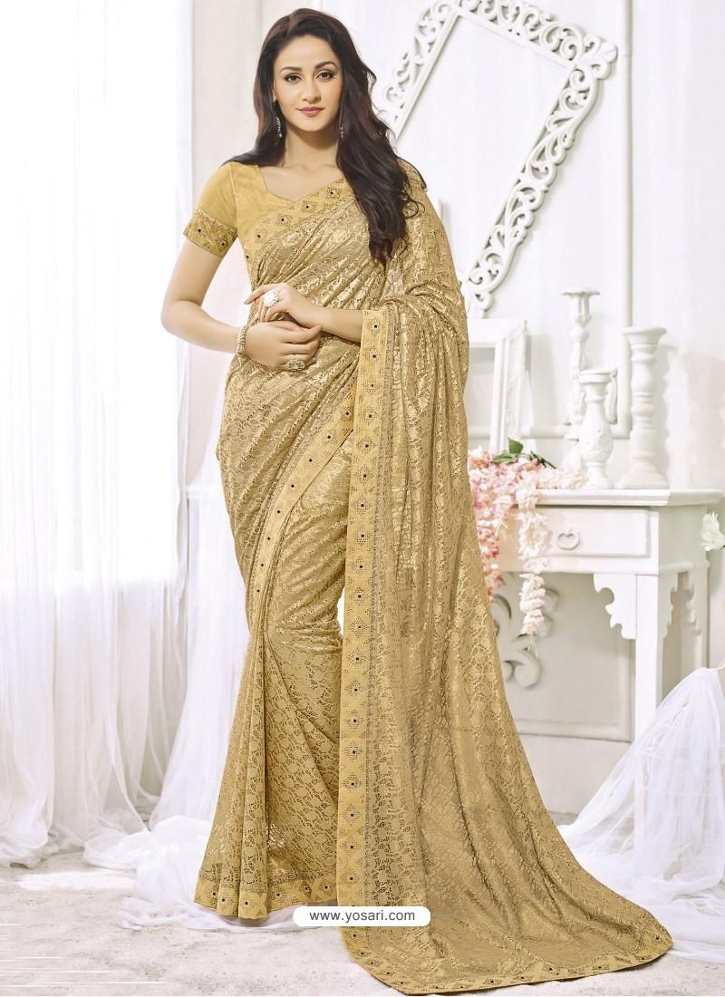 63d1164e1d207 Buy Golden Net Designer Party Wear Saree