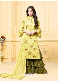 Green Digital Printed Jam Silk Cotton Designer Palazzo Suit