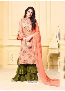 Peach Digital Printed Jam Silk Cotton Designer Palazzo Suit