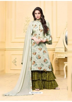 Olive Green Digital Printed Jam Silk Cotton Designer Palazzo Suit
