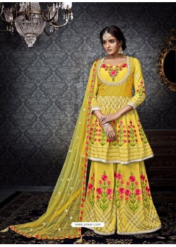 Incredible Yellow Embroidered Faux Georgette Designer Sarara Suit