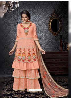 Gorgeous Light Orange Embroidered Faux Georgette Designer Sarara Suit