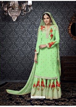 Sea Green Embroidered Faux Georgette Designer Sarara Suit