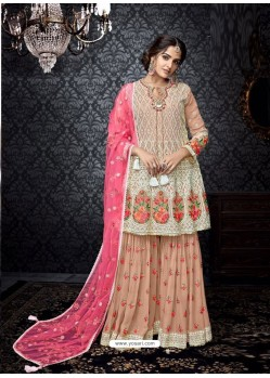 Fantastic Multi Colour Embroidered Faux Georgette Designer Sarara Suit