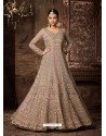 Dusty Pink Net Embroidered Designer Floor Length Anarkali Suit