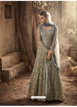 Blue Net Embroidered Designer Floor Length Anarkali Suit
