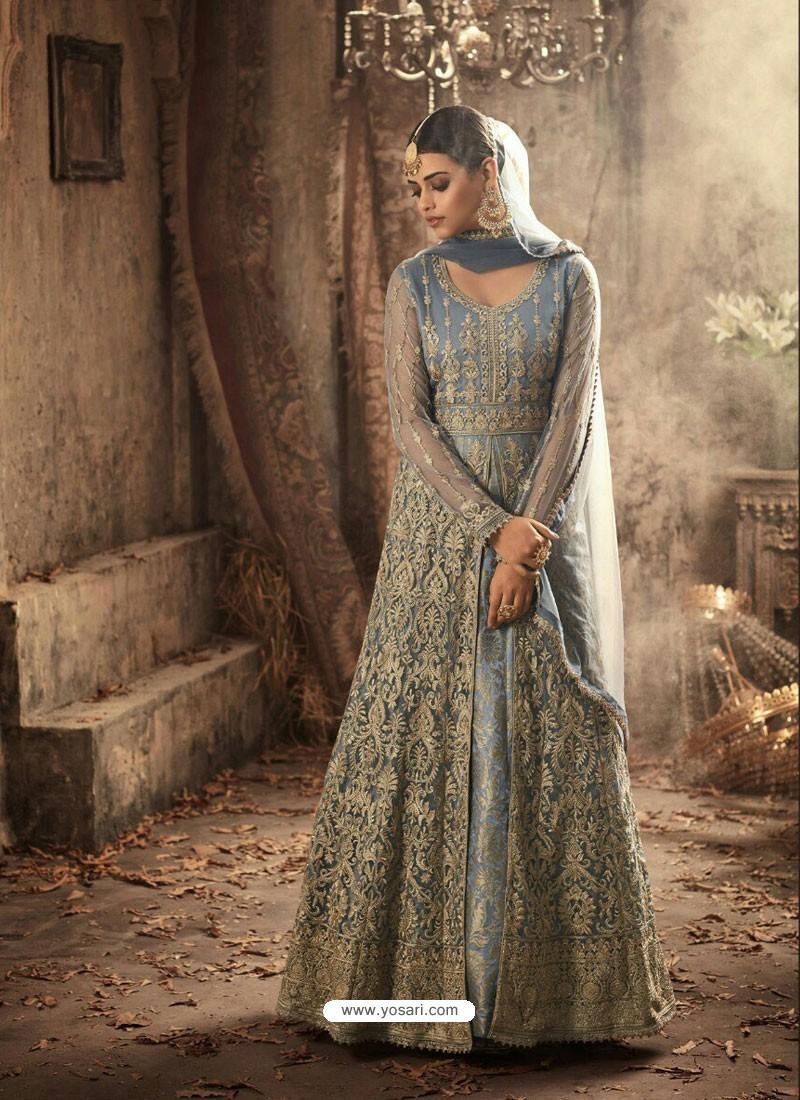 Blue Net Embroidered Designer Floor Length Anarkali Suit