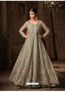 Olive Green Net Embroidered Designer Floor Length Anarkali Suit