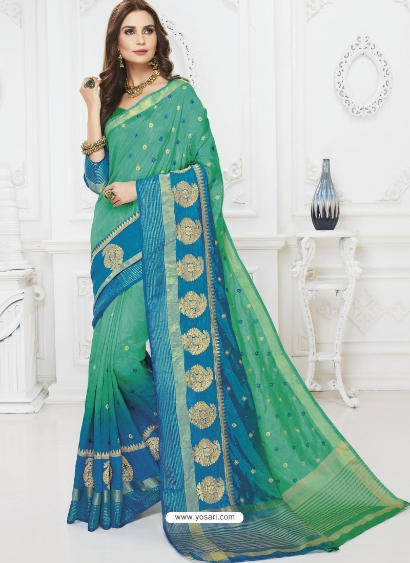 Dazzling Green And Turquoise Raw Silk Designer Woven Saree