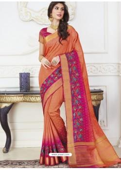 Rust Raw Silk Designer Woven Saree