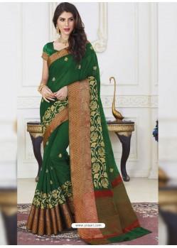 Dark Green Jute Silk Designer Woven Saree