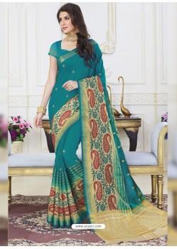 Teal Raw Silk Designer Woven Saree