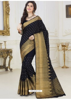 Lustrous Black Dupion Silk Designer Woven Saree