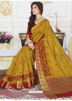 Corn Raw Silk Designer Woven Saree