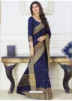 Flawless Navy Blue Raw Silk Designer Woven Saree