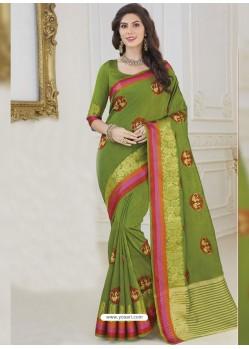 Green Jute Silk Designer Woven Saree
