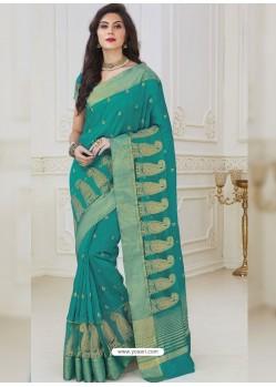Magical Aqua Mint Raw Silk Designer Woven Saree