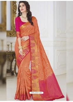Orange Raw Silk Designer Woven Saree