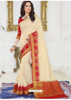 Cream Raw Silk Designer Woven Saree