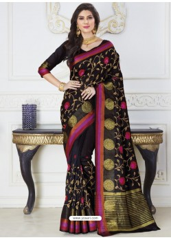Decent Black Raw Silk Designer Woven Saree