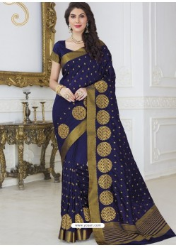 Feminine Navy Blue Raw Silk Designer Woven Saree