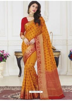 Mustard Raw Silk Designer Woven Saree