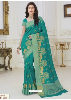 Lovely Aqua Mint Raw Silk Designer Woven Saree
