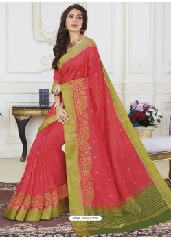 Dark Peach Raw Silk Designer Woven Saree