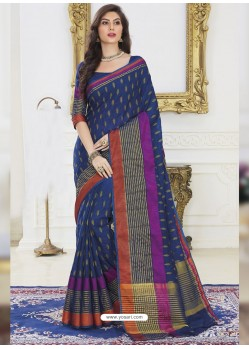 Multi Colour And Navy Blue Dupion Silk Designer Woven Saree
