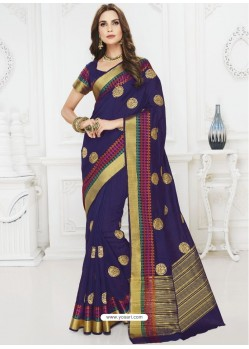 Splendid Navy Blue Raw Silk Designer Saree