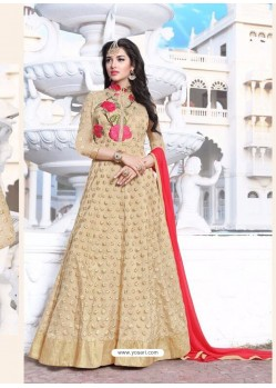 Beige Net Embroidered Designer Anarkali Suit