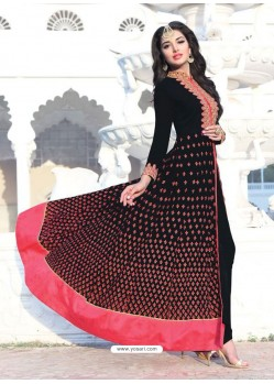 Black Georgette Embroidered Designer Anarkali Suit