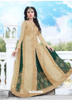 Marvelous Beige And Dark Green Georgette Embroidered Designer Anarkali Suit