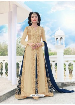 Amazing Beige And Navy Blue Georgette Embroidered Designer Anarkali Suit