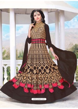 Coffee Brown Georgette Embroidered Designer Anarkali Suit