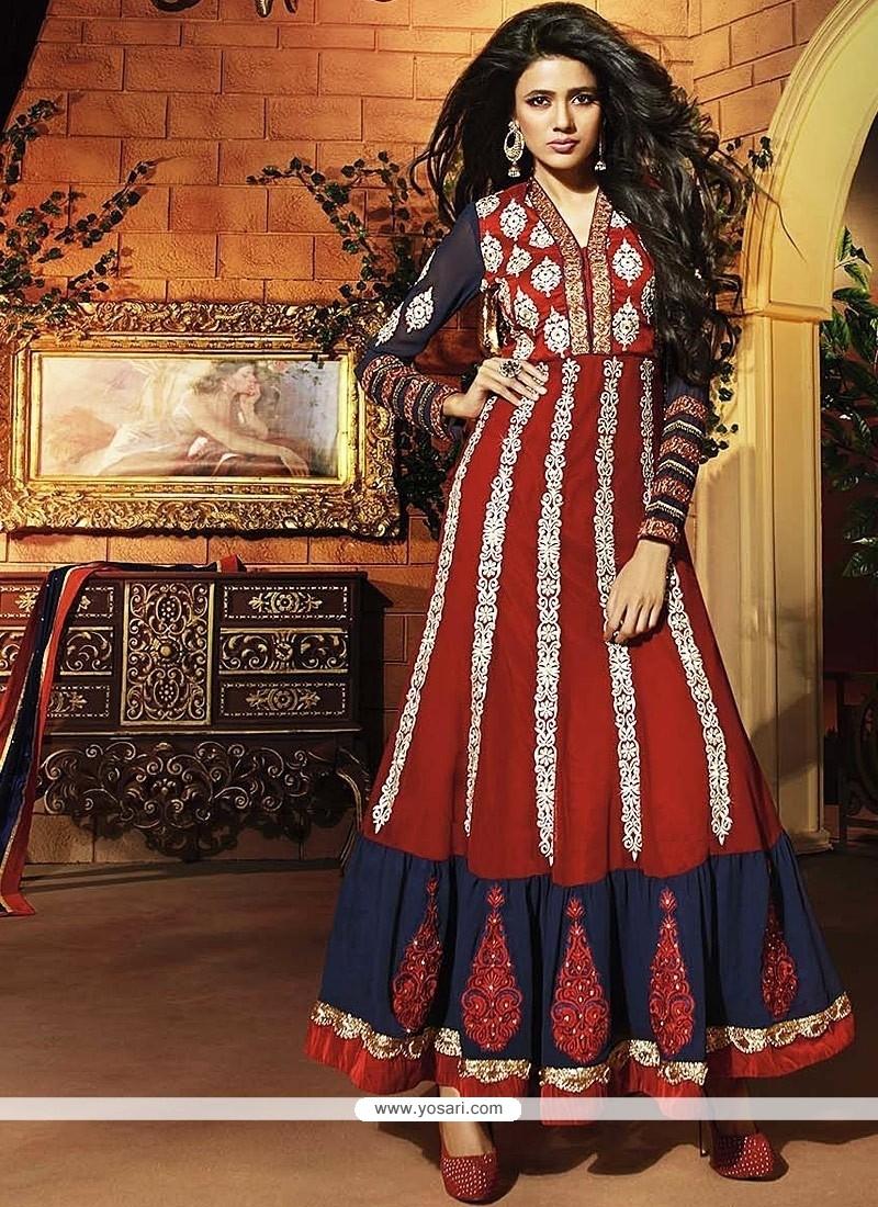 Beautiful Red Georgette Anarkali Suit