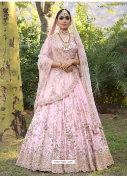 Baby Pink Silk Heavy Embroidered Designer Wedding Lehenga Choli