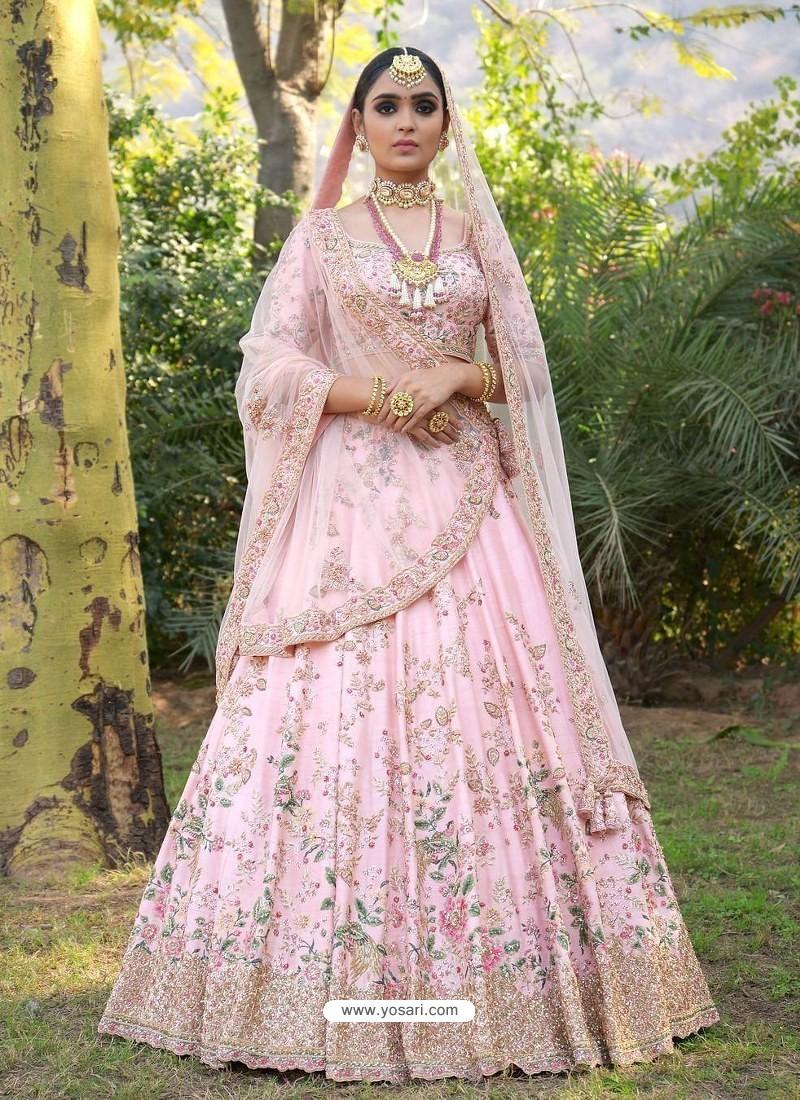 Buy Baby Pink Silk Heavy Embroidered Designer Wedding