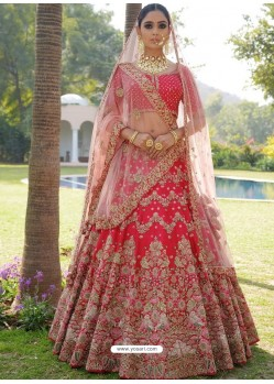 Crimson Nylon Satin Heavy Embroidered Designer Wedding Lehenga Choli