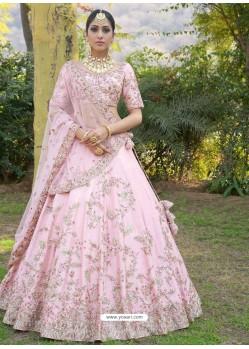 Baby Pink Silk Zari Embroidered Designer Wedding Lehenga Choli