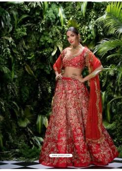 Red Thai Silk Zari Embroidered Designer Wedding Lehenga Choli