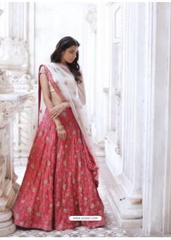 Off White And Fuchsia Phantom Silk Zari Embroidered Designer Wedding Lehenga Choli