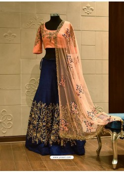 Peach And Navy Blue Silk Zari Embroidered Designer Wedding Lehenga Choli