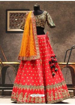 Dark Peach And Green Phantom Silk Zari Embroidered Designer Wedding Lehenga Choli
