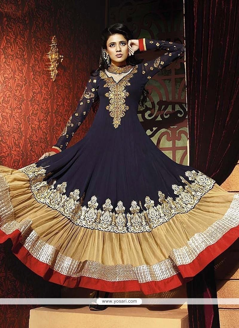 Dashing Blue Georgette Anarkali Suit