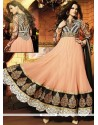 Lavish Peach Georgette Anarkali Salwar Suit